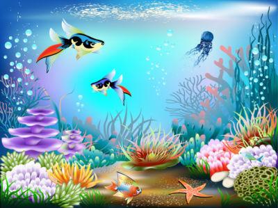 Фотообои для ванны рыбки рисованные (underwater-world-00188)