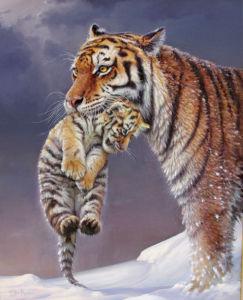 Фотообои мама тигр и тигренок (animals-0000198)