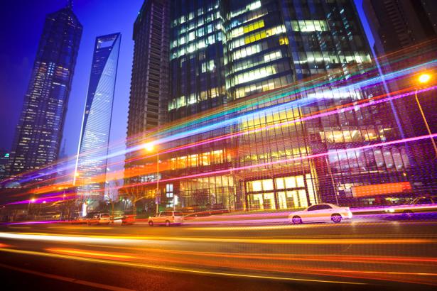 Фотообои ночной город, небоскребы, дорога (city-0000036)
