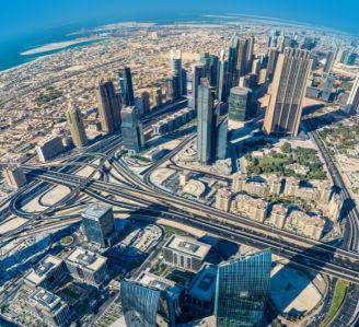 Фотообои вид из окна Бурдж Халифа Дубаи (city-0001390)