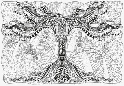Обои раскраска Художественное дерево (color-23)