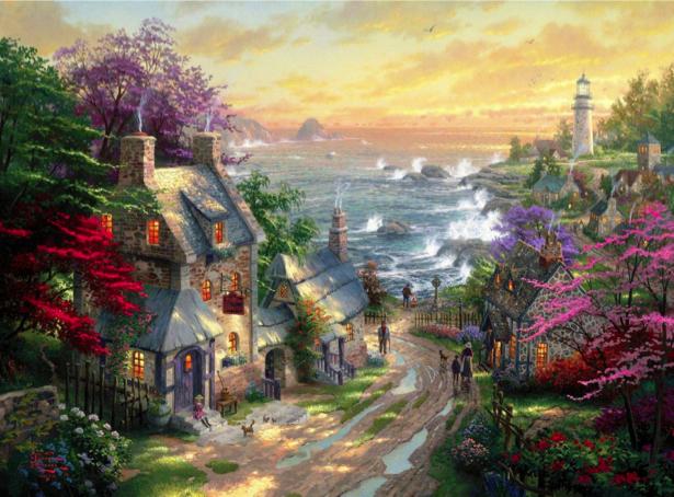 Фотообои город на берегу моря (fantasy-0000077)