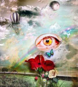 Фотообои коллаж цветы и глаз (fantasy-0000171)