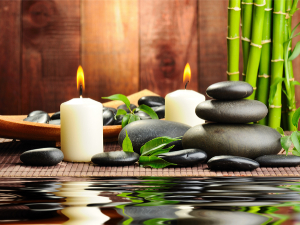 Фото обои на стену бамбук, камешки и свечи (flowers-0000402)