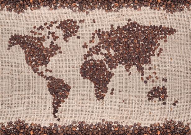 Карта мира из зерен кофе фотообои (food-0000146)