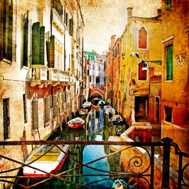 Фотообои в зал канал в Венеции (retro-vintage-0000121)
