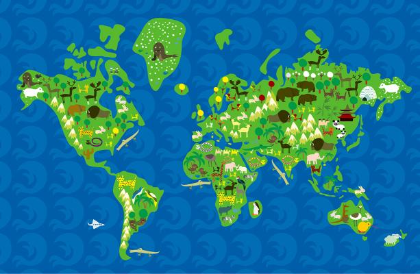 Фотошторы карта мира для детей (children-curtain-00030)
