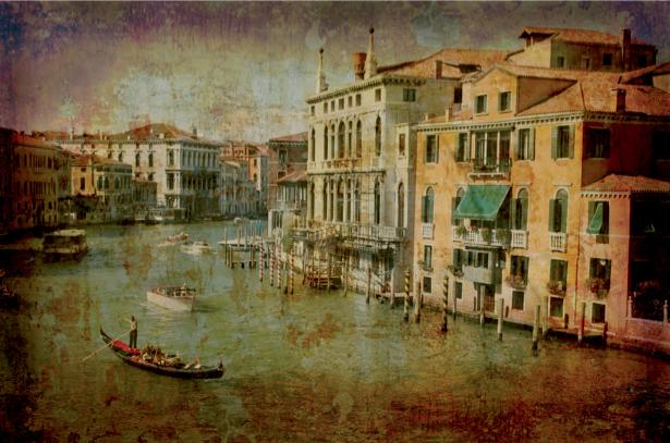 Фотообои канал в Венеции винтаж (city-0000466)