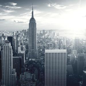 Фотообои небоскрёбы нью-йорка ЧБ (city-0001166)