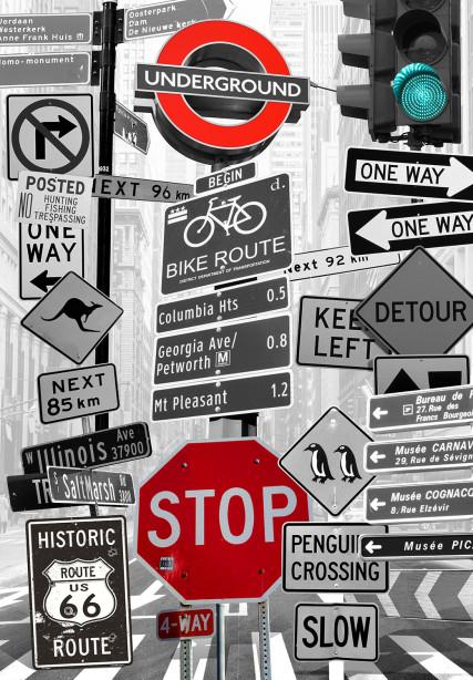 Фотообои Дорожные знаки (loft-1)