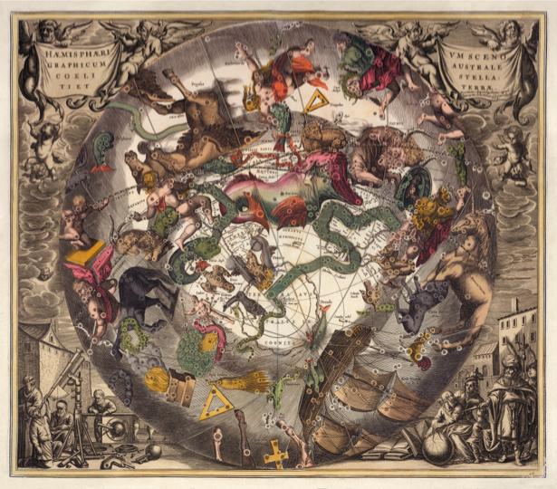 атлас, зодиак, карты, старая карта (map-0000087)