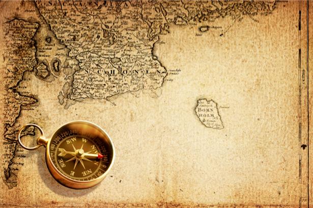 Фотообои карта и золотой компас (map-0000168)