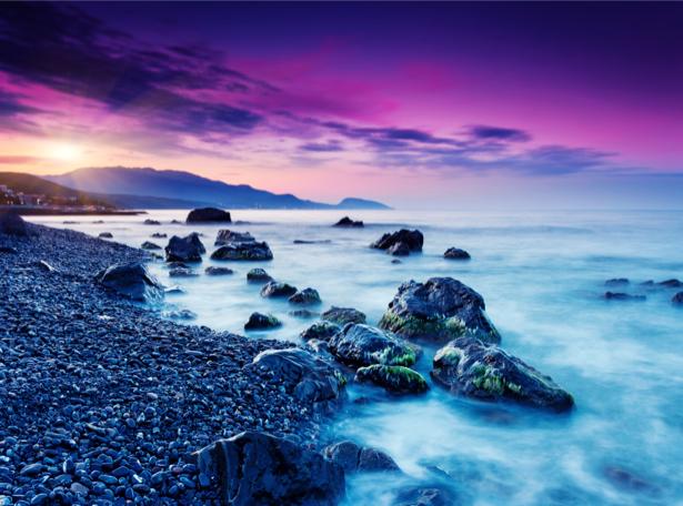Фотообои море закат фиолет (nature-0000679)