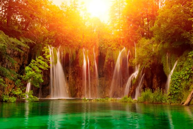 Фотообои с природой горный водопад на закате (nature-00157)