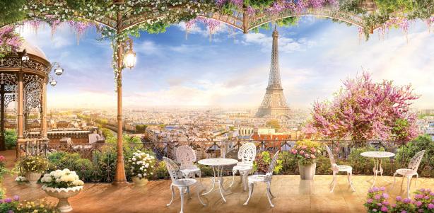 Фотообои вид на Париж с мансарды (printmaking-0000111)