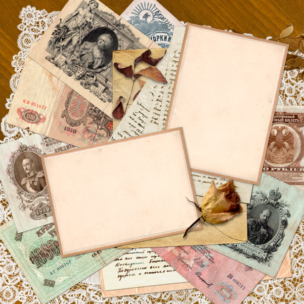 Фотообои деньги старые банкноты (retro-vintage-0000090)