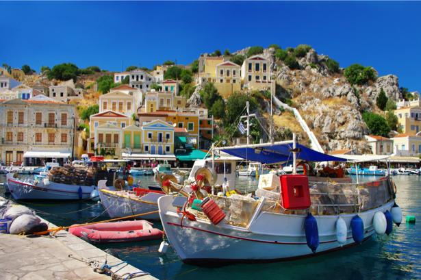 Фотообои с лодками в греции (transport-0000057)