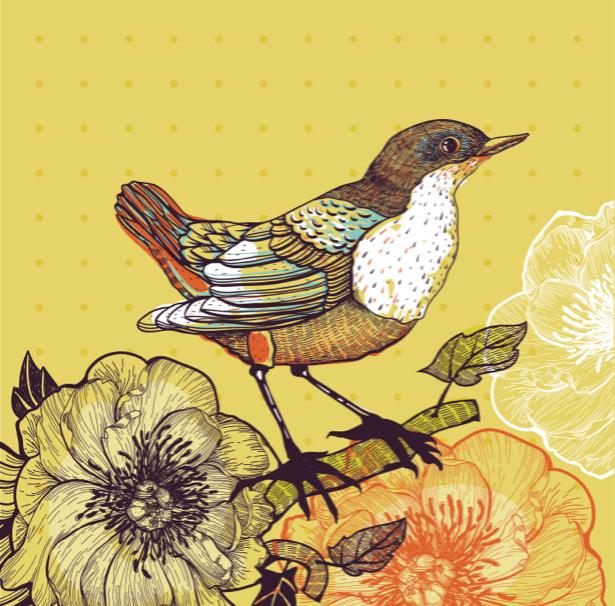 Фотообои рисованная птица с цветами (animals-0000395)