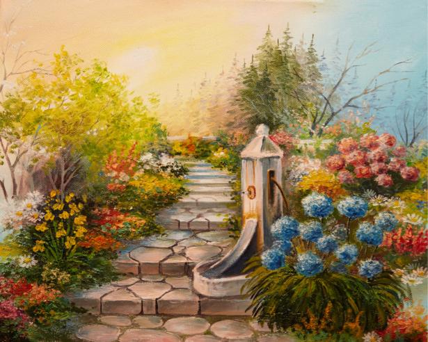 Фотообои лестница в сад для спальни (art-0000707)