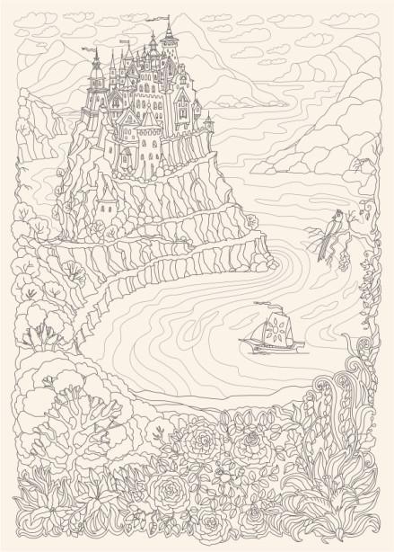 Обои раскраска Замок на холме (color-27)