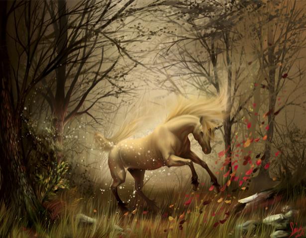 Фотообои лошадь в осеннем лесу (fantasy-0000016)