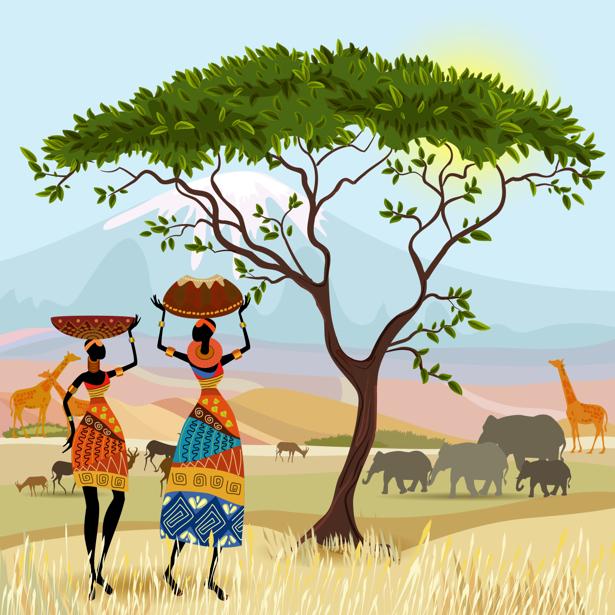 Фотообои рисованная Африка (fantasy-0000161)