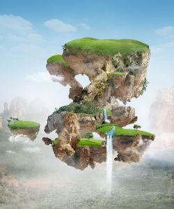 Фотообои зеленый остров (fantasy-0000181)