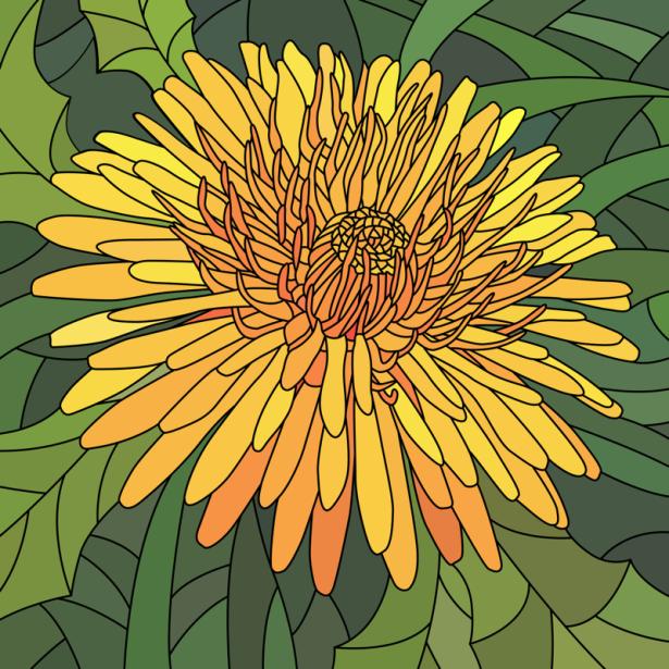 Фото обои цветок жолтый Витраж (flowers-0000693)