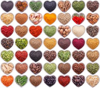 Фотообои на кухню набор специй сердечки (food-0000270)