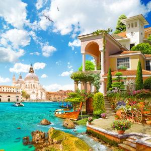 Фотообои прованс Венеция и цветы (printmaking-0000108)