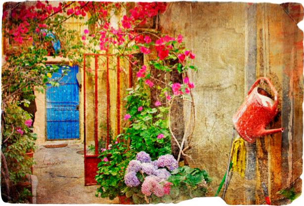 Фотообои лестница цветок дом (retro-vintage-0000100)