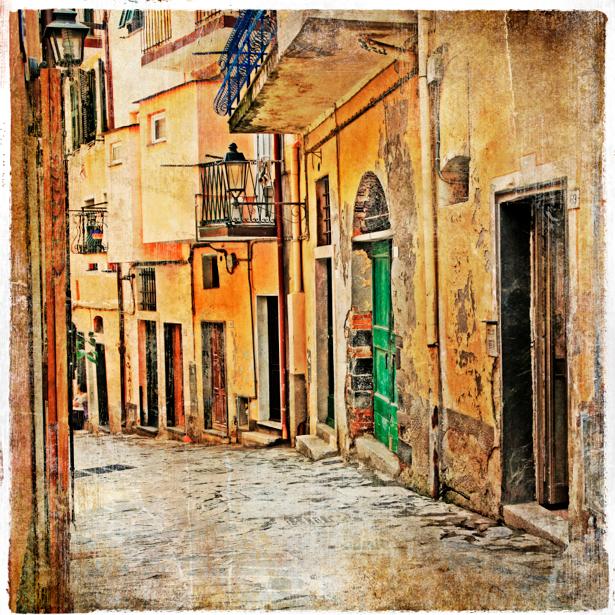 Фотообои итальянский дворик улочка (retro-vintage-0000104)