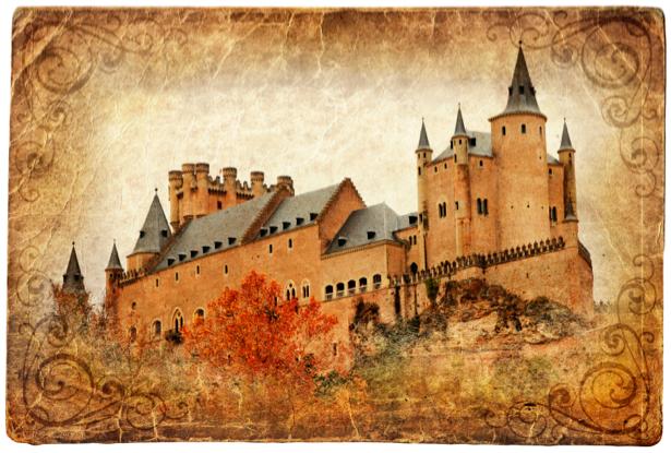 Фотообои замок открытка (retro-vintage-0000133)