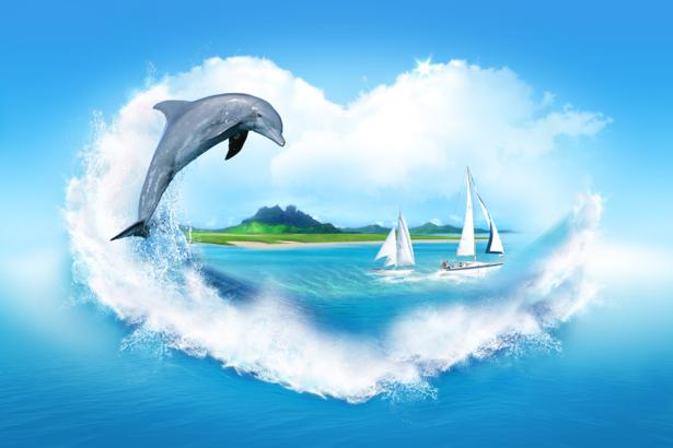 Фотообои море композиция дельфин (sea-0000203)