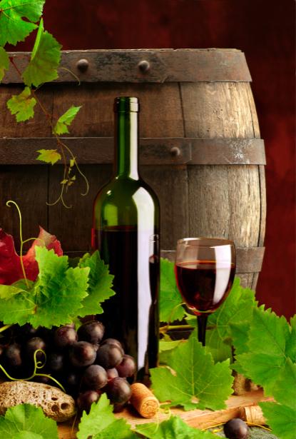 Фотообои бокал вина фото виноград (still-life-0015)