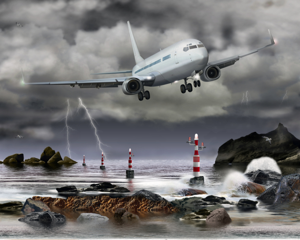 Фотообои Самолет над морем шторм (transport-0000216)
