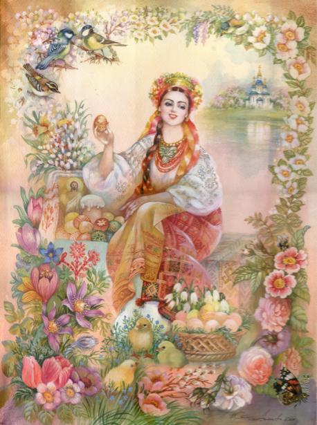 Картина Украинка в национальном (ukraine-0227)