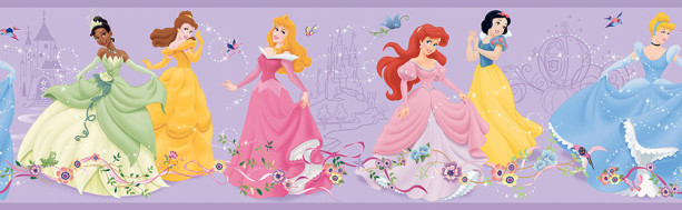 Фотообои Принцессы на фиолетовом фоне (child-465)