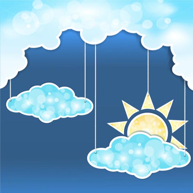 Небо детские фотообои тучка солнце (children-0000207)