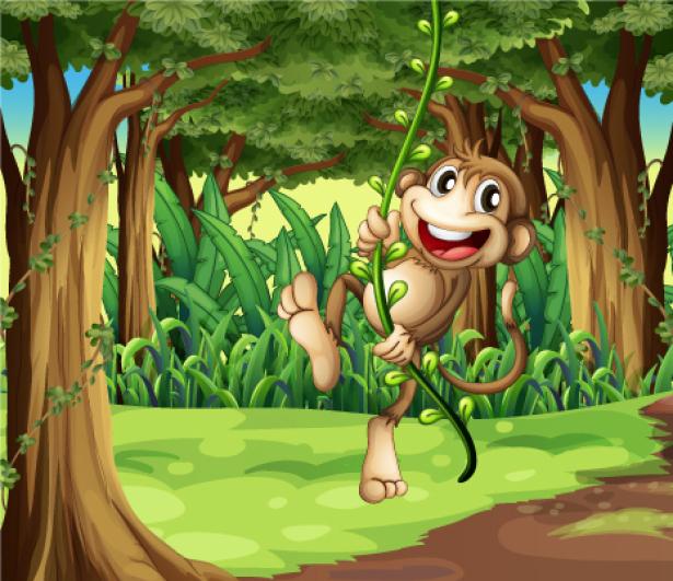 Фотообои детские - Обезьянка в джунглях (children-0000242)