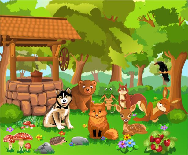 Животные в лесу Детские фотообои (children-0000286)