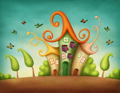 Детские фотообои сказочный домик (children-0000392)