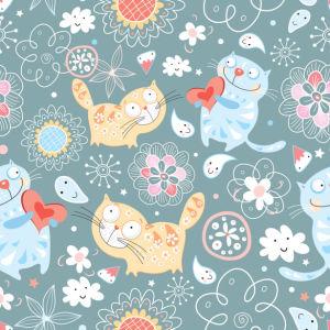 Фотошторы влюбленные коты (children-curtain-00012)