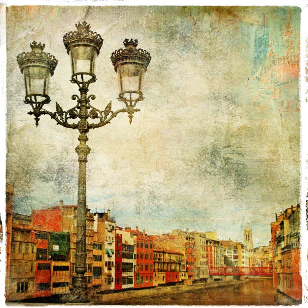 Фотообои старые улочки и фонарь (city-0000390)