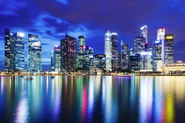 Фотообои отраженный ночной мегаполис (city-0001146)