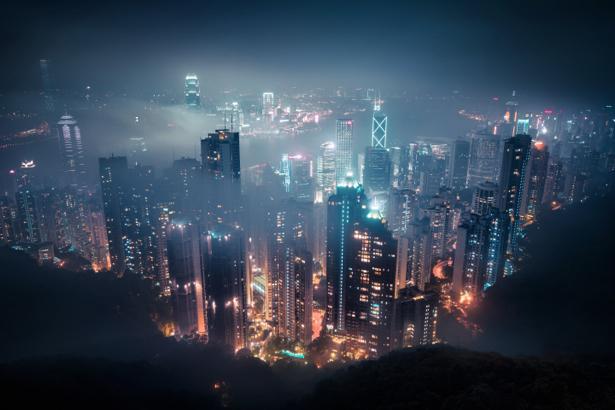Фотообои ночные - небоскрёбы (city-0001152)