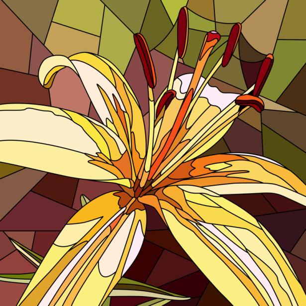 Обои фото цветок жолтый Витраж (flowers-0000691)