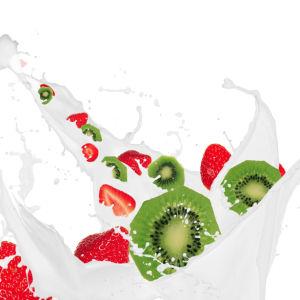 Фотообои на кухню Фрукты в молоке (food-0000073)