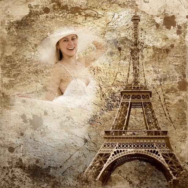 Фотообои Эйфелева башня и девушка (retro-vintage-0000026)