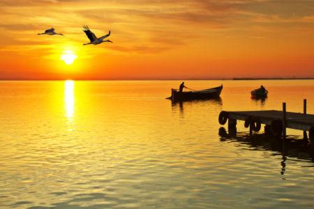 фотообои закат над рекой (sea-0000371)